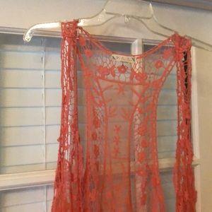 Beautiful Coral lace vest